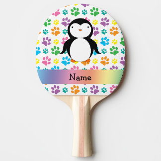 Personalized name penguin rainbow paws Ping-Pong paddle