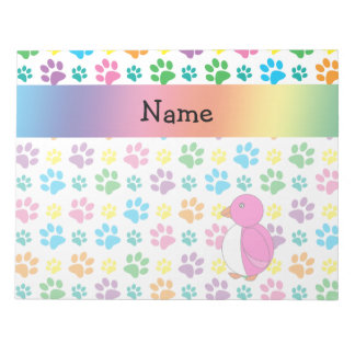 Personalized name penguin rainbow paws notepad