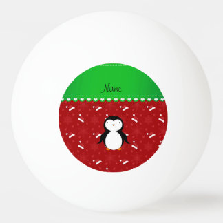 Personalized name penguin red santa hats snowflake ping pong ball
