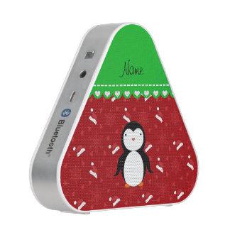 Personalized name penguin red santa hats snowflake speaker