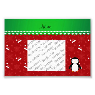 Personalized name penguin red santa hats snowflake photo