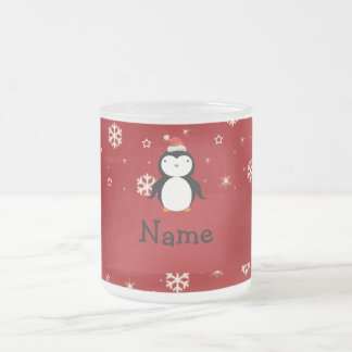 Personalized name penguin red snowflakes frosted glass coffee mug