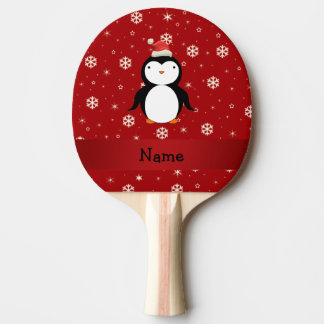 Personalized name penguin red snowflakes ping pong paddle