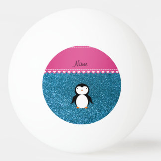 Personalized name penguin sky blue glitter Ping-Pong ball