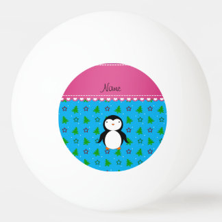 Personalized name penguin sky blue trees stars ping pong ball