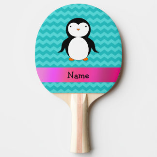 Personalized name penguin turquoise chevrons Ping-Pong paddle