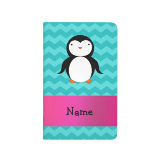 Personalized name penguin turquoise chevrons journal