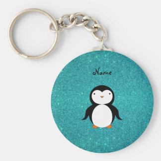 Personalized name penguin turquoise glitter basic round button key ring