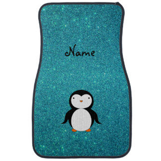 Personalized name penguin turquoise glitter car mat