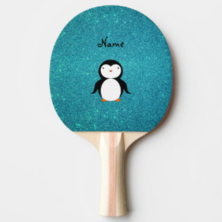 Personalized name penguin turquoise glitter Ping-Pong paddle