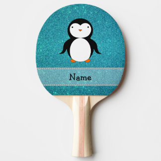 Personalized name penguin turquoise glitter ping pong paddle