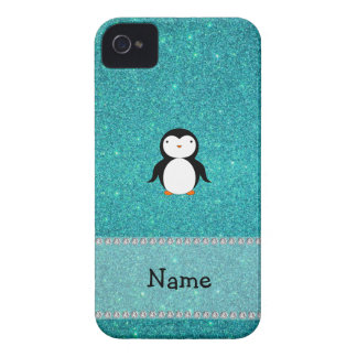 Personalized name penguin turquoise glitter iPhone 4 Case-Mate cases