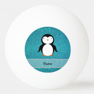 Personalized name penguin turquoise glitter Ping-Pong ball