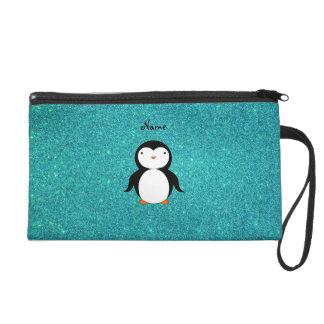 Personalized name penguin turquoise glitter wristlet