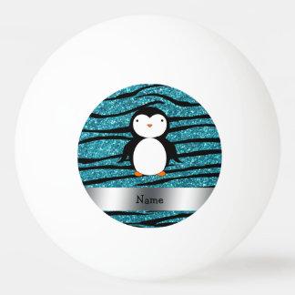 Personalized name penguin turquoise glitter zebra