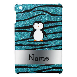 Personalized name penguin turquoise glitter zebra cover for the iPad mini