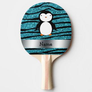 Personalized name penguin turquoise glitter zebra Ping-Pong paddle