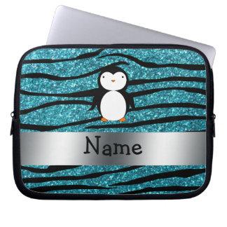 Personalized name penguin turquoise glitter zebra laptop sleeve