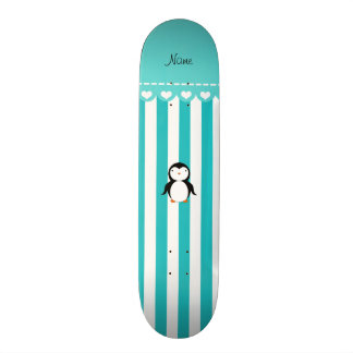 Personalized name penguin turquoise white stripes 21.6 cm old school skateboard deck