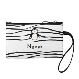 Personalized name penguin zebra stripes coin purse