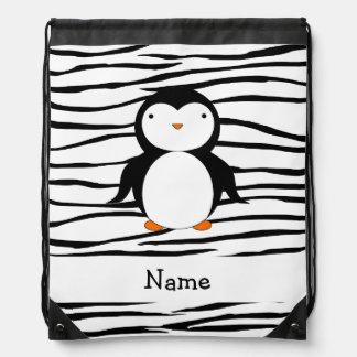 Personalized name penguin zebra stripes drawstring bag
