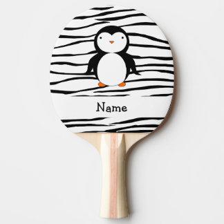 Personalized name penguin zebra stripes ping pong paddle
