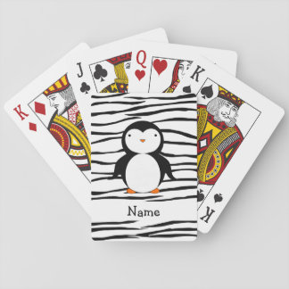 Personalized name penguin zebra stripes playing cards