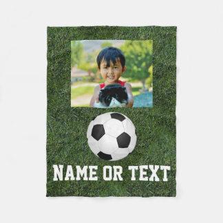 Personalized Name Photo Soccer Grass Boys Fleece Blanket