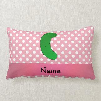 Personalized name pickle pink polka dots lumbar cushion