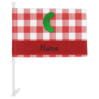 Personalized name pickle red white checkers car flag