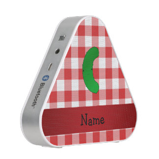 Personalized name pickle red white checkers bluetooth speaker