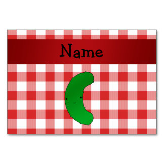 Personalized name pickle red white checkers table cards