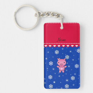 Personalized name pig blue snowflakes keychains
