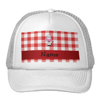 Personalized name pig chef red white checker trucker hat