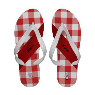Personalized name pig chef red white checker flip flops