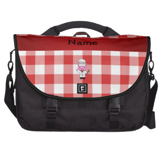 Personalized name pig chef red white checker laptop computer bag
