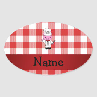 Personalized name pig chef red white checker oval sticker