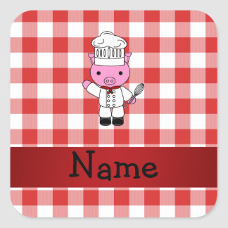 Personalized name pig chef red white checker stickers