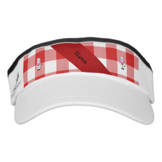 Personalized name pig chef red white checker visor