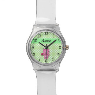 Personalized name pig cupcake green polka dots watch