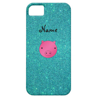 Personalized name pig face turquoise glitter iPhone 5 case
