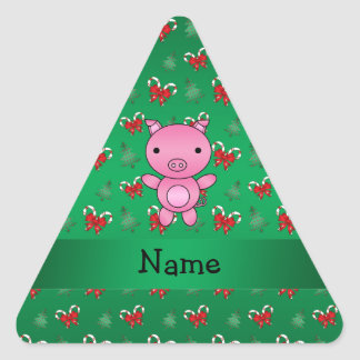 Personalized name pig green candy canes bows stickers