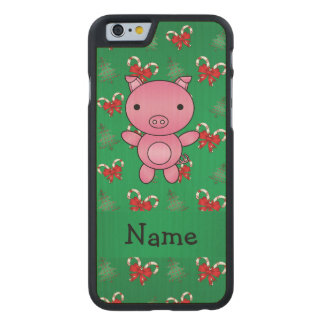 Personalized name pig green candy canes bows carved® maple iPhone 6 slim case