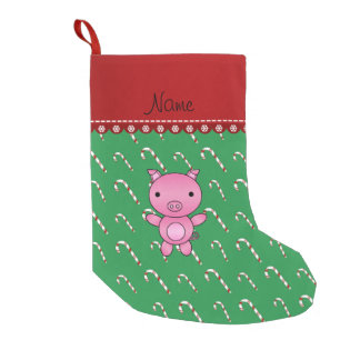 Personalized name pig green candy canes small christmas stocking