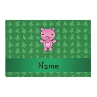 Personalized name pig green christmas trees laminated place mat
