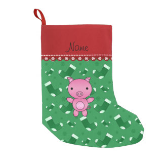 Personalized name pig green santa stockings