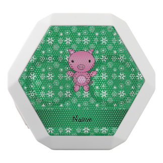 Personalized name pig green snowflakes white boombot rex bluetooth speaker
