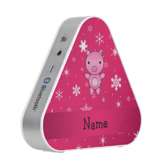 Personalized name pig pink snowflakes bluetooth speaker