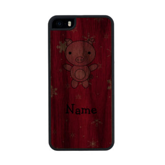Personalized name pig pink snowflakes iPhone 6 plus case