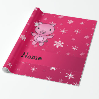 Personalized name pig pink snowflakes wrapping paper